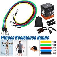 11Pcs Heavy Duty Fitness Tube Resistance Band Exercise Elastic Gym Training Yoga
