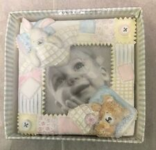 Carter's Gift Baby Bunny Teddy Bear Home Square Photo Picture Frame New #DX