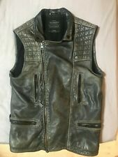 All Saints / Cargo Leather Waistcoat / Biker Jacket / Distressed / MAD MAX VIBE!