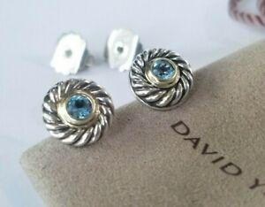 David Yurman - 14K Gold and Sterling Silver Blue Topaz Earrings - Stunning! $550