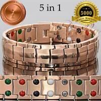 PURE TITANIUM 5000G 40 BIO 5 in 1 MAGNETIC THERAPY BRACELET MEN ROSE GOLD T03RG