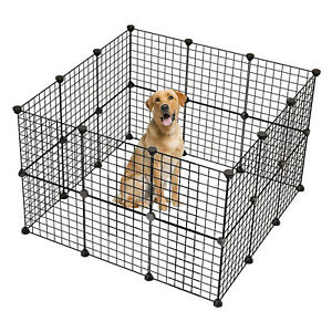 Pet Playpen, Small Animal Cage Indoor Portable Metal Wire Yard Fence for Small