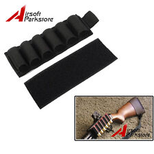 Tactical 6 Round Shell Shotgun Ammo Carrier Holder Gun Buttstock Pouch Black