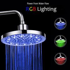 """8"""" RGB LED Disk Rainfall Stainless Rain Shower Head Bathroom Top Ceiling Sprayer"""