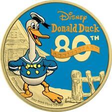Niue 2014 $2 Donald Duck 80th Ann. - Yellow Gold & Blue Gold 1 Oz Silver Coin