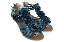 Women's Flower Sandals- Wedge Heel Buckled Ankle Strap shoes Black 6 7 8 9 10 11