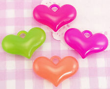 15 x X-LARGE Colourful Heart Shaped 3D Kawaii Beads Jewellery Making