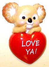 "1986 Hallmark New Koala w/ ""Love Ya� Heart Valentine Pin on Card Unused Vlp3569"