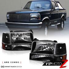 1992-1996 Ford F150 F250 F350 Bronco Black Signal Bumper Headlights Corner Lamps