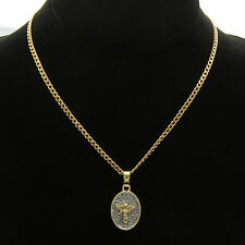 Oval Angel Cz Pendant On Gold Plated stainless steel Cuban Chain Necklaces