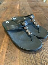 Fitflop Microwobble Board Women's Size 9 Sandals Black Leather Thong Petra