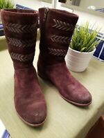 UGG Australia Cailyn 3182 Distressed Suede Leather Braid Calf Boots Women Sz 7.5
