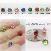Invisible Clip On Stud 6mm Rhinestone Non Pierced Hypoallergenic Earrings Y408