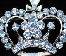 GOLD CLEAR RHINESTONE PRINCESS TIARA BEAUTY PAGEANT CONTEST CROWN PIN BROOCH 1.5