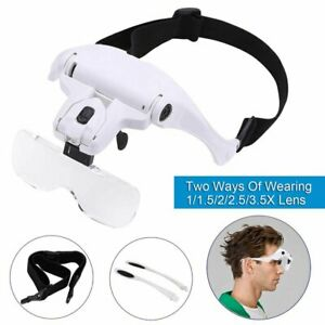 Professional Headband With 2 LED Light Jeweler Magnifier Magnifying Glass Loupe