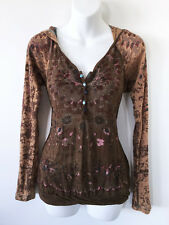 $74 FREE PEOPLE Burn Out Thermal HENLEY Hoodie Hooded KNIT TOP * M