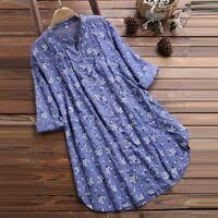 Women Linen V-Neck Floral Print Long Sleeve T-Shirt Casual Tops Blouse Plus Size
