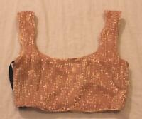 Club London Women's Sleeveless Plisse Sequin Crop Top BF5 Gold Size US:2 UK:6