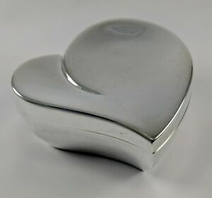 Chrome Metal Heart Shaped Trinket Box Fabric Lined  Jewelry Holder Organizer
