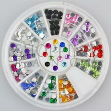 Nail Rhinestones Gems Art Diamante Fashion Glitter Jewels Multi Colour Round 3mm