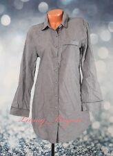 Victoria's Secret Long Sleeve Button-down Pajama Sleepshirt S Small Gray Cotton