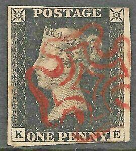 QV - Penny Black *Plate 5 - DOUBLE LETTERS KE* *Red Maltese Cross* (CV £500)