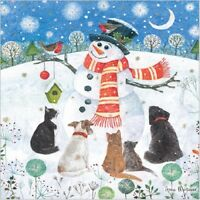 CHARITY Christmas Cards Pack 10 | Snowman & Animal Scene | Cute Dog & Cat Cards