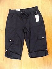 NWT Style & Co Women Cargo Skimmer Shorts X Small Roll-up Leg Black Pull-on