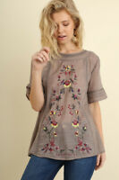 Umgee Floral Embroidered Boho Bohemian Blouse Top Brown Mocha Flowers USA seller