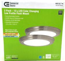 """Commercial Electric 2-Pack Ceiling Lights Flush Mount 13"""" Color Change LED Light"""