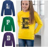 Kids Personalised Name Split Initial Sweatshirt Jumper Sweater Boys Girls Child