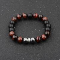 Men's Stainless steel 10mm Tigers Eye+Hematite+Onyx Gemstone Beaded Bracelet 8''