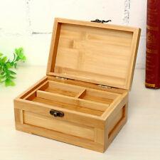 Vintage Wooden Jewelry Box with Lock Storage Rings Trinket Case Organizer Gift