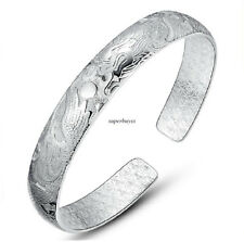 Korean Women 925 Sterling Silver Open Bangle Cuff Charm Bracelet Chain Gift