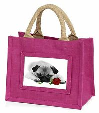 Pug (B+W Photo) with Red Rose Little Girls Small Pink Shopping Bag , AD-P92R2BMP