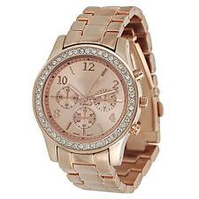 Damen Herren Armbanduhr mit Edelstahl Armband und Strasssteinen Uhr in 5 Farben