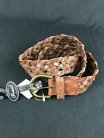 FOSSIL Women's Brown Embossed Weave GENUINE LEATHER Flowers Belt Size L