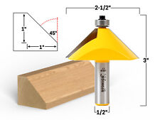 """45 Degree Chamfer Edge Forming Router Bit - 1/2"""" Shank - Yonico 13917"""
