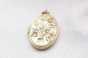 9ct Yellow Gold Patterned Oval Locket 3.2g - 2101033