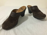Sofft Mules Heels Slip-On Shoes Brown Suede & Leather Size 6M