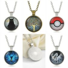 Anime Pokemon Pokeball/Life Tree/Butterfly/Cat/Horse Glass Dome Vintage Necklace