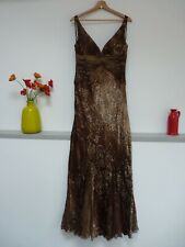 Gorgeous Alberto Makali Brown Silk Beaded Full Length Evening Dress 8, Vgc