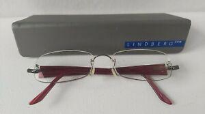 LINDBERG T50 135 rimless eyeglasses glasses frame red with original grey case