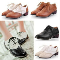 Vintage New Womens Shoes Lace Up Brogues Girls College Oxford Low Flat Heels Hot
