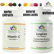 Lungwort, Vitamin C ( Ascorbic Acid) 240 Capsules Boost Lungs and Immune System.