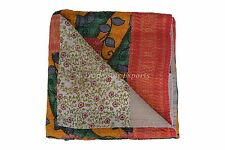 Indian Floral Vintage Sari Kantha Quilt Reversible Patchwork Ralli Throw Blanket