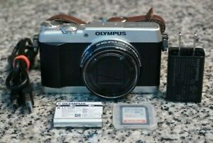 AS-IS Olympus Stylus SH-3 16MP HD 1080p Wi-Fi Silver Camera 24x W/ Extras 32GB