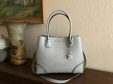 Michael Kors Pearl Grey Perforated Leather Mercer Corner Medium Center Zip Tote