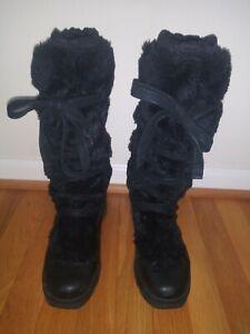 Merrel Womens Faux Furry Black Boots