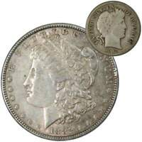 1882 Morgan Dollar XF EF Extremely Fine 90% Silver with 1913 Barber Dime G Good